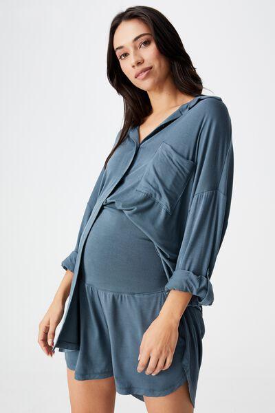 Sleep Recovery Maternity Pocket Short, IRON