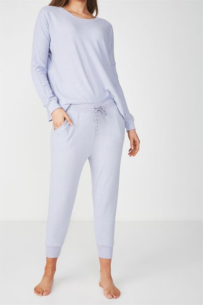 Super Soft Cropped Slim Fit Pant, ELECTRIC LILAC MARLE