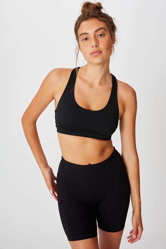 Strappy Sports Crop, BLACK