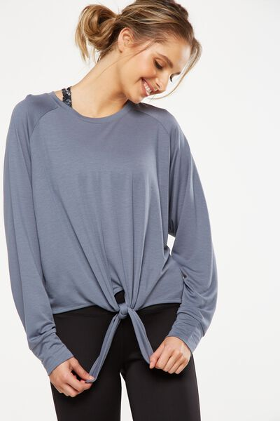 Knot Front Long Sleeve Top, TITANIUM