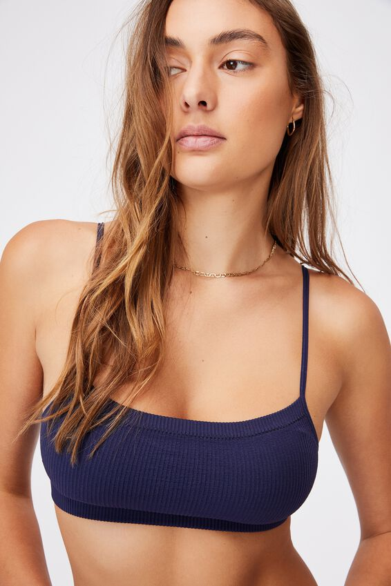 Seamfree Straight Neck Crop With Cups, NAVY
