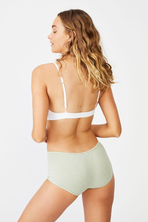 Cotton Rib Boyshort, MINT CHIP MARLE