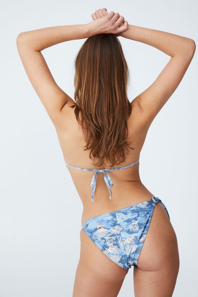 Tie Side Hipster Cheeky Bikini Bottom, HAWAIIAN BLUE SHIMMER