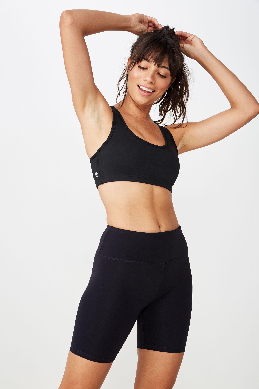 New Ladies Cotton Sports Cropped Cycling Pants Legging Gym Running Shorts Black