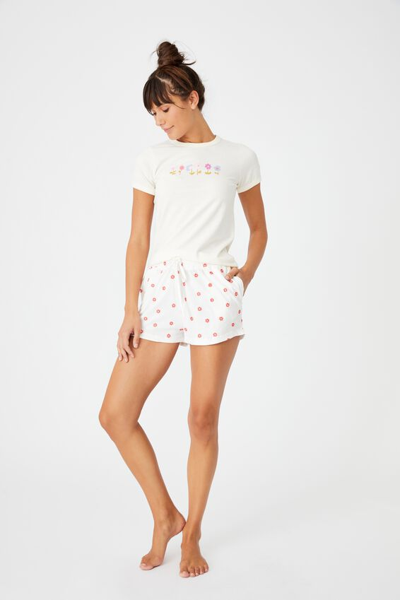 Ringer Sleep T-Shirt, FLOWER SPRIGS ALMOND BUTTER