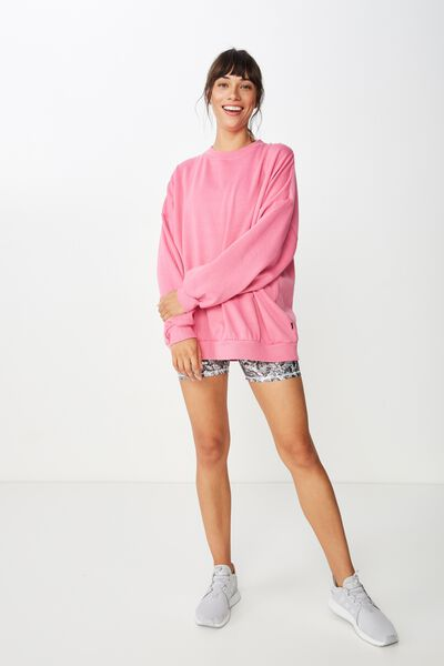 Slouchy Active Crew Top, CARNATION
