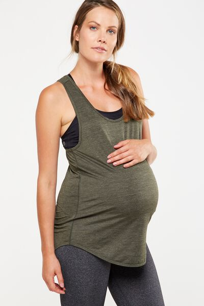 Maternity Training Tank Top, EVERGREEN  MARLE