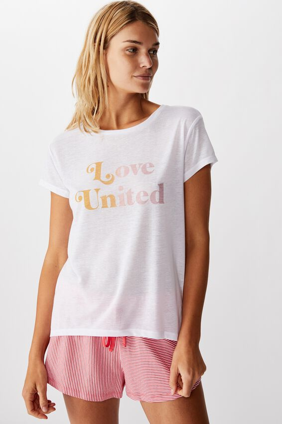 Dreamy Sleep T-Shirt, LOVE UNITED/WHITE