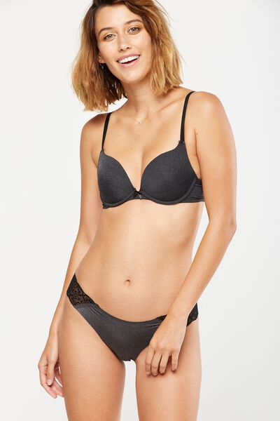 Smooth Body Booster Push Up Bra, CHARCOAL