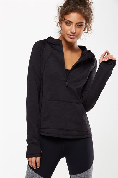 Warm & Fuzzy Half Zip Long Sleeve Top, BLACK MARLE