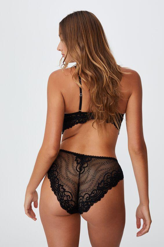 Ainsley Lace Bikini Brief, BLACK