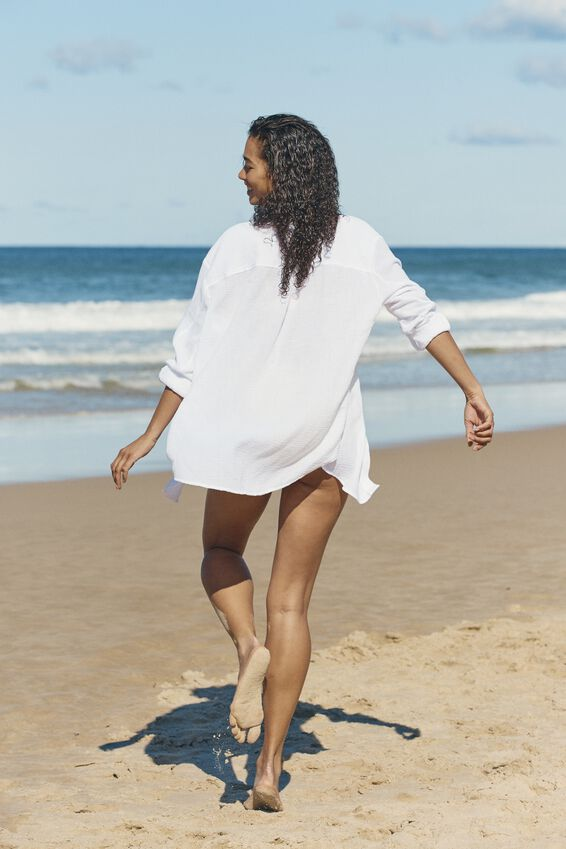 Oversized Beach Shirt, WHITE