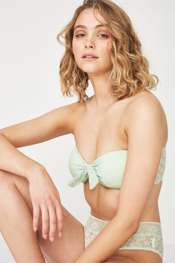 Jojo Knot Front Lace Bandeau, SIL GREEN