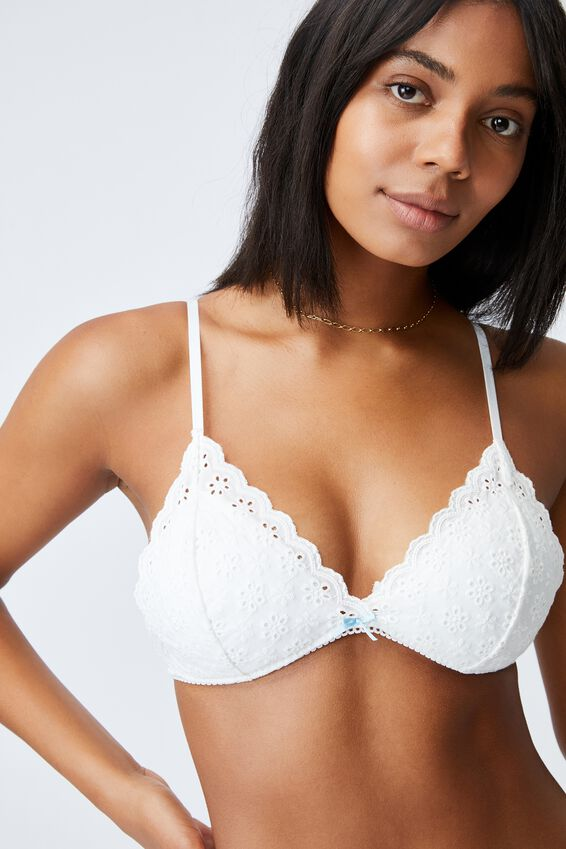 Brodie Fixed Cup Wirefree Bra, WHITE