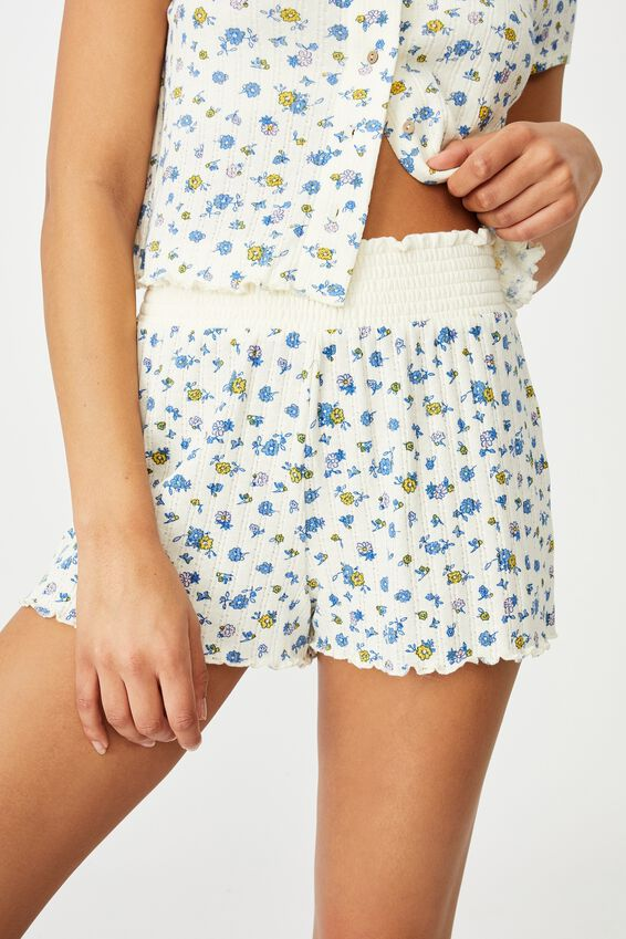 Knit Pointelle Bed Short, BUTTERFLY DITZY/ICEY CUSTARD