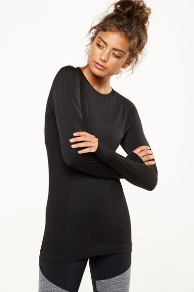 Long Sleeve Seamfree Top, BLACK MARLE