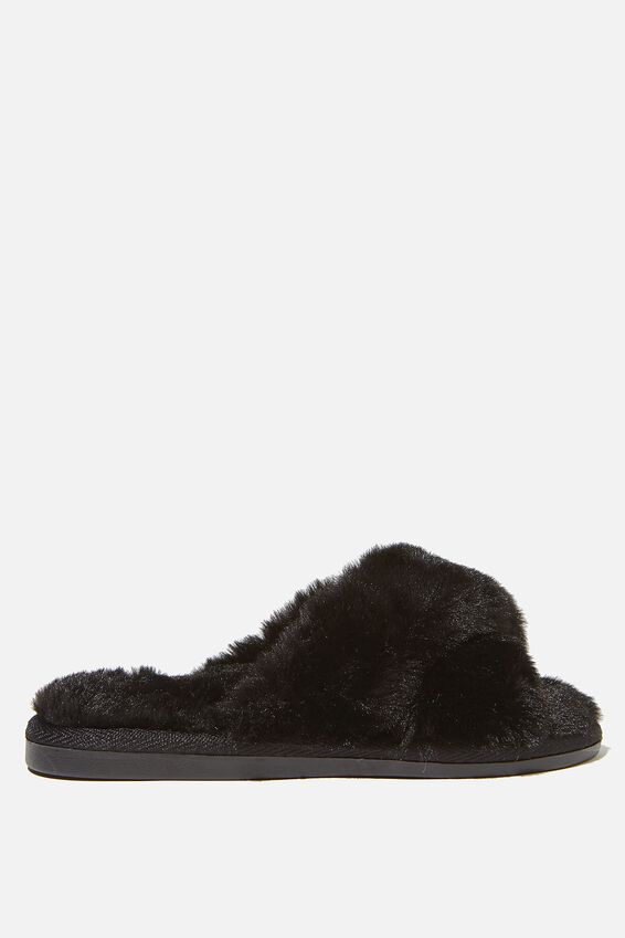 Duo Crossover Slipper, BLACK