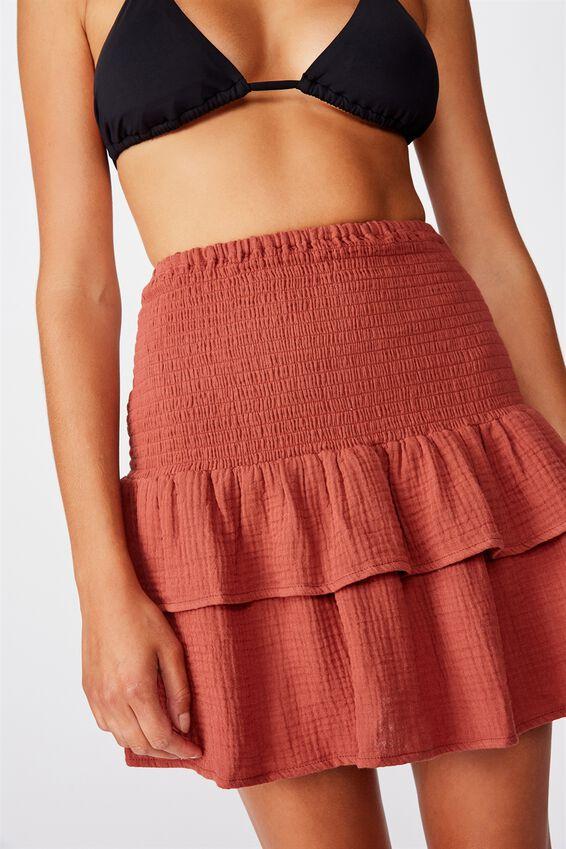 Shirred Tiered Beach Skirt, RUST