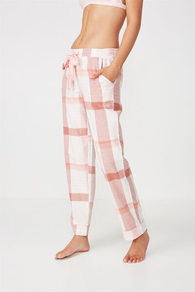 Non Cuffed Flannel Pant, PASTEL CHECK