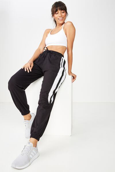 Knit Woven Spliced Trackpant, BLACK/WHITE