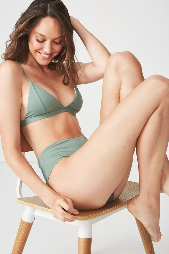 Fixed Triangle Bikini Top, FERN GREEN MATTE