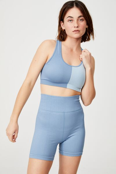 Seamless Rib Bike Short, COPEN BLUE