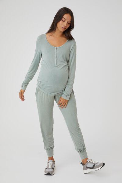 Sleep Recovery Maternity Henley Top, DESERT SAGE WASH