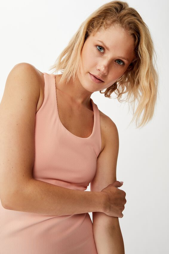 Active Fitted Tank Top, SOFT CAMEO PINK RIB