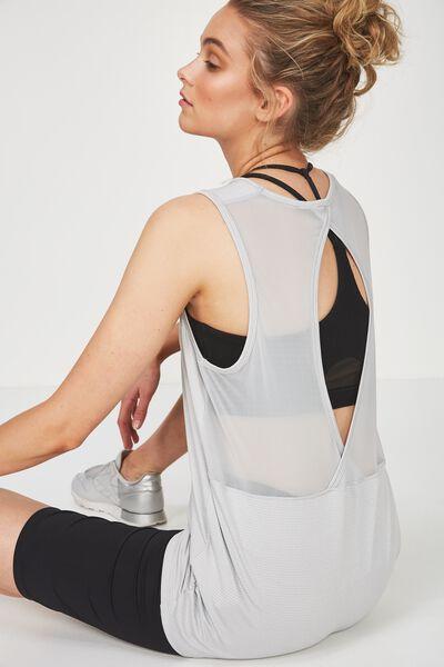 Mesh Back Tank Top, GREY MARLE