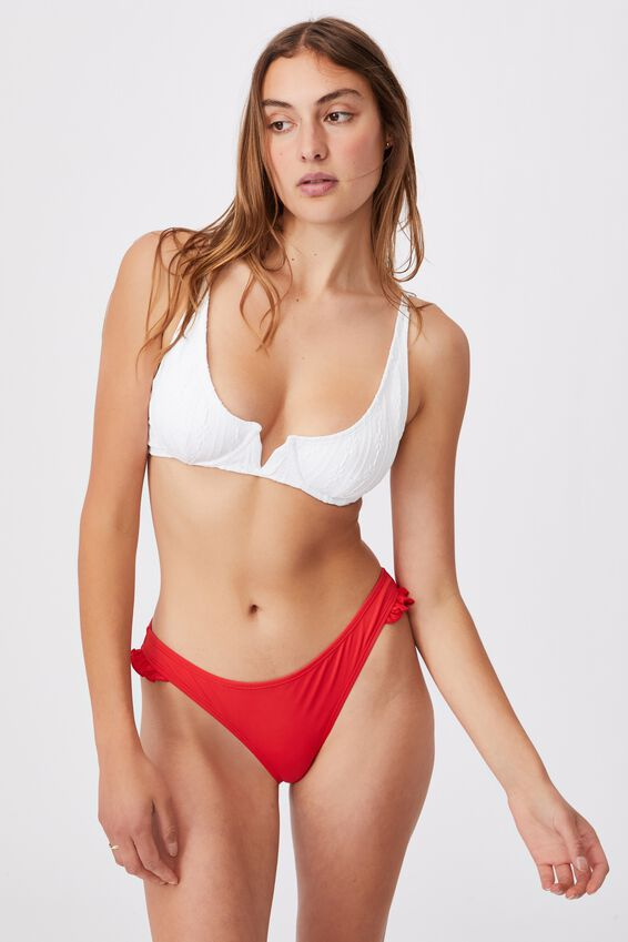 Full Bikini Bottom Mm Frill, RED/FRILL
