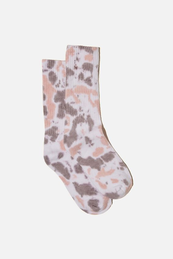 Staycation Sock, APRICOT/TIE DYE