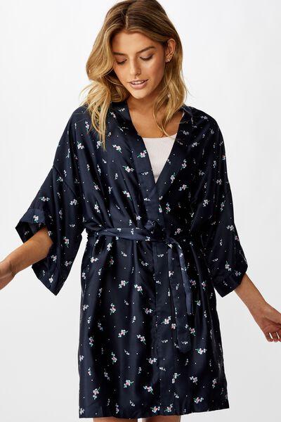 Satin Kimono Gown, SPRIGGY FLORAL NAVY