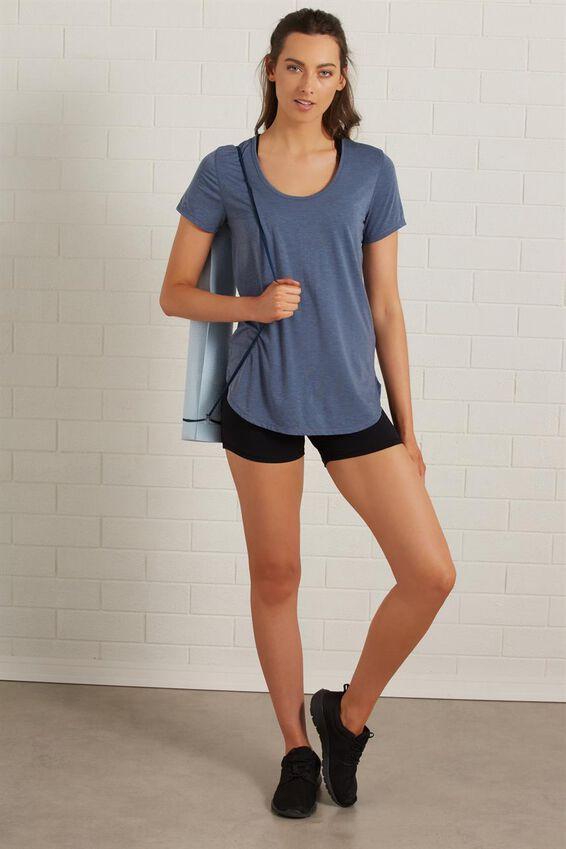 Gym T Shirt, STEEL BLUE MARLE