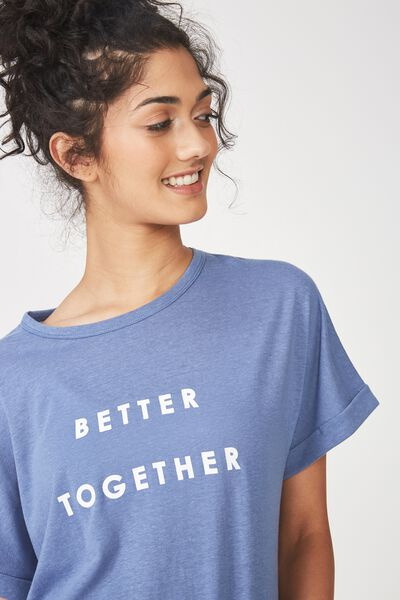 Dropped Shoulder Slogan T Shirt, CHALKY BLUE / BETTER TOGETHER