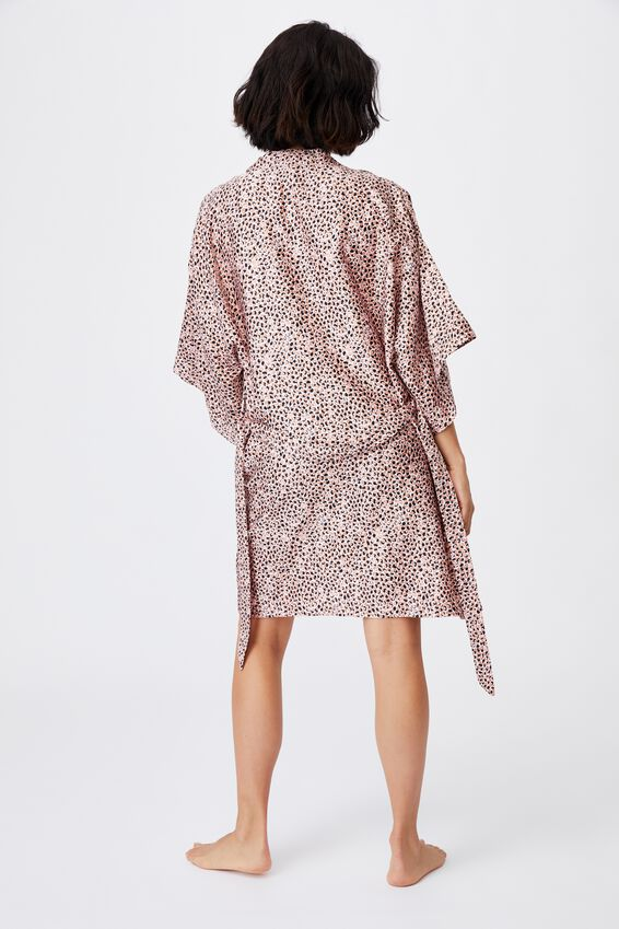 Satin Robe, LAYERED SPOT SOFT PINK