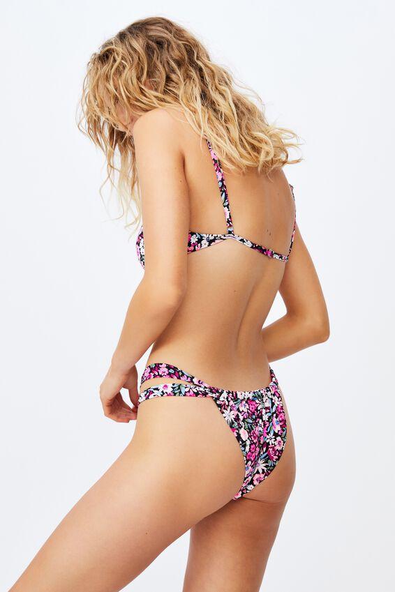 Gathered Strap Brazilian Bikini Bottom Mm, PAINTED DENSE DITSY