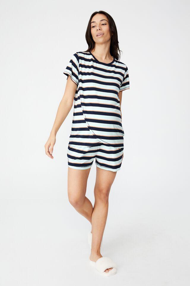 Sleep Recovery Maternity T Shirt, PEPPERMINT STRIPE