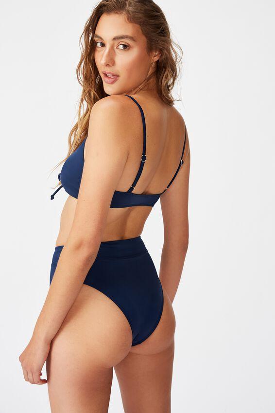 Renewed Scoop/High Waisted Bikini Set, NAVY