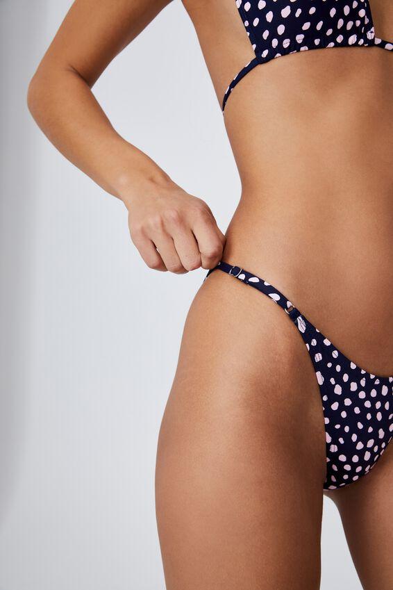 Thin Strap High Side Cheeky Bikini Bottom, ORGANIC DOT