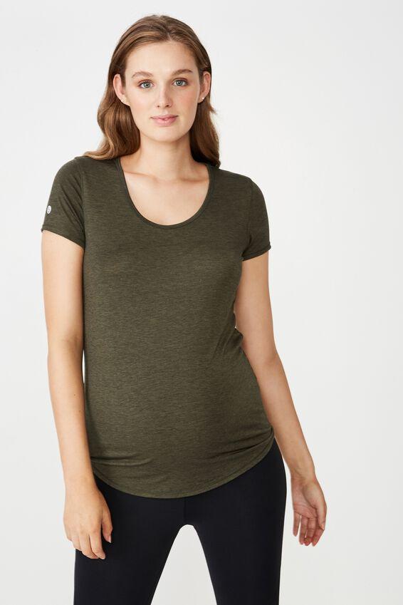 Maternity Gym T Shirt, EVERGREEN MARLE