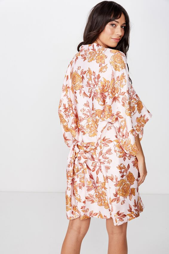 Satin Kimono Gown, SPRING TIME FLORAL/ CRYSTAL PINK