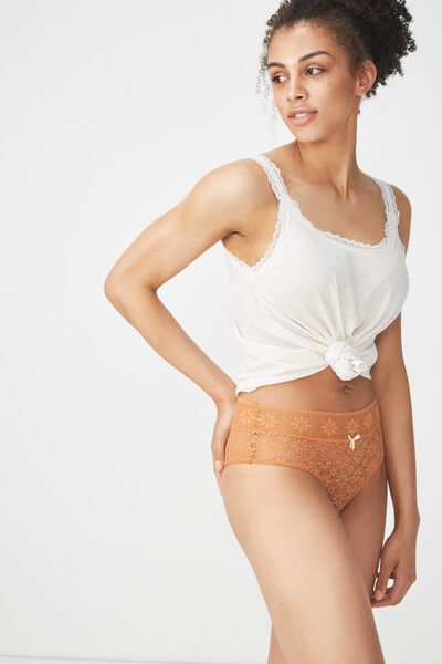 Jojo Allover Lace High Waist Brasiliano Brief, TOFFEE