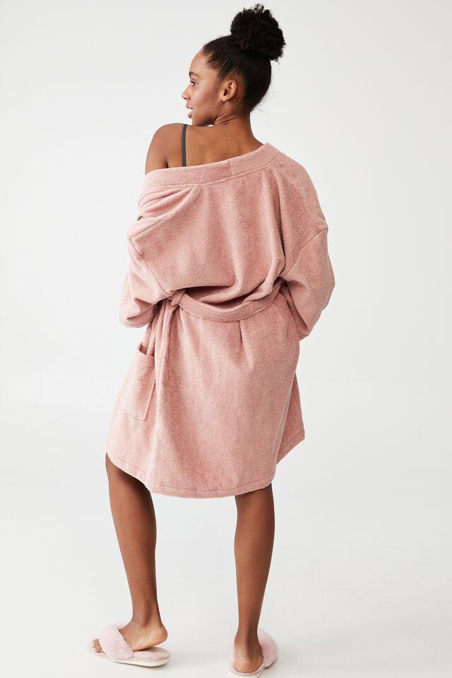 Towelling Robe, PEACH BEIGE