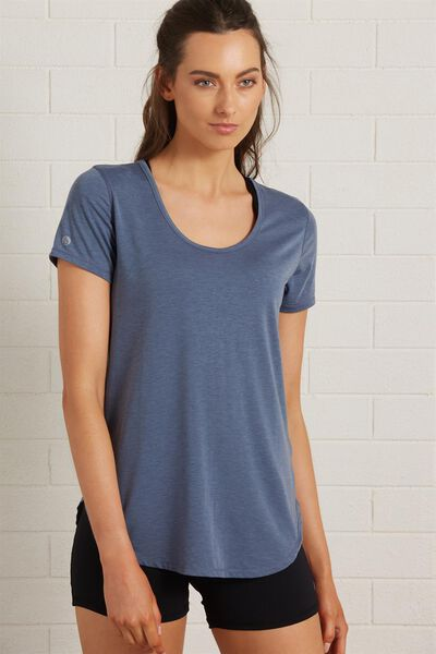 Gym T Shirt, STEEL BLUE MARLE