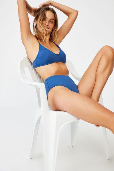 U Crop Bralette Bikini Top, MARINA BLUE RIB 21
