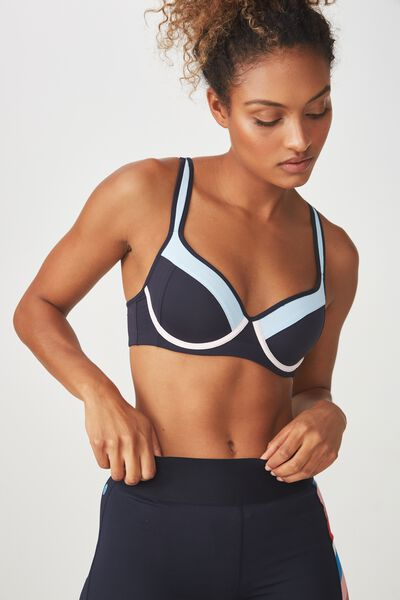 Medium Impact Contour Sports Bra, NAVY / TOPAZ BLUE