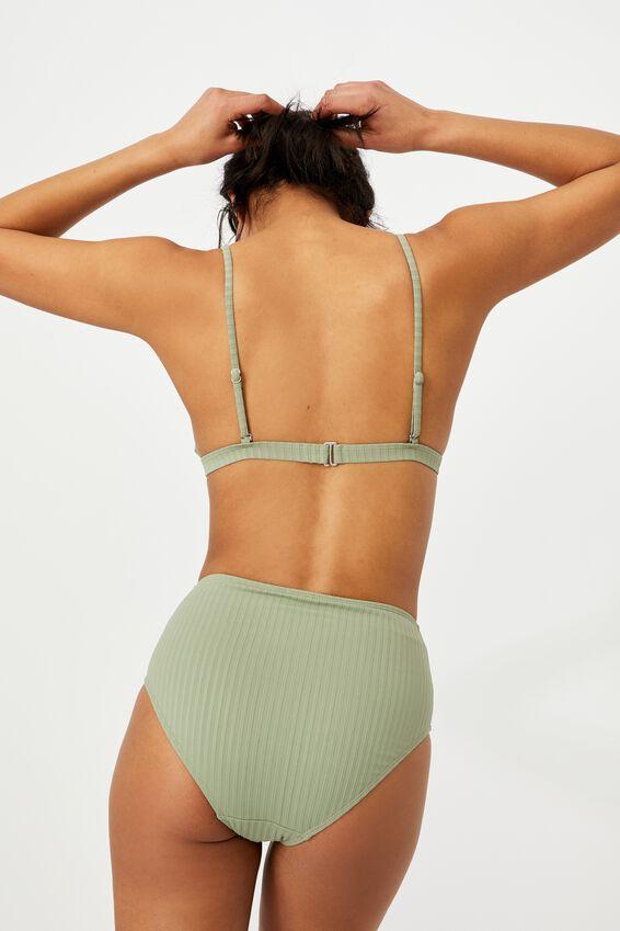Fixed Triangle Bikini Top, KHAKI RIB