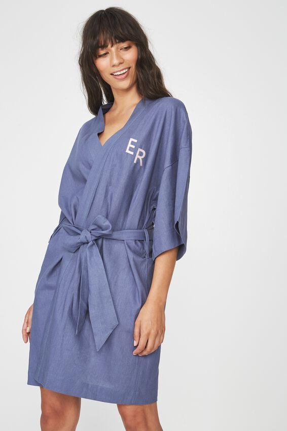 Personalised Woven Kimono, STORM BLUE