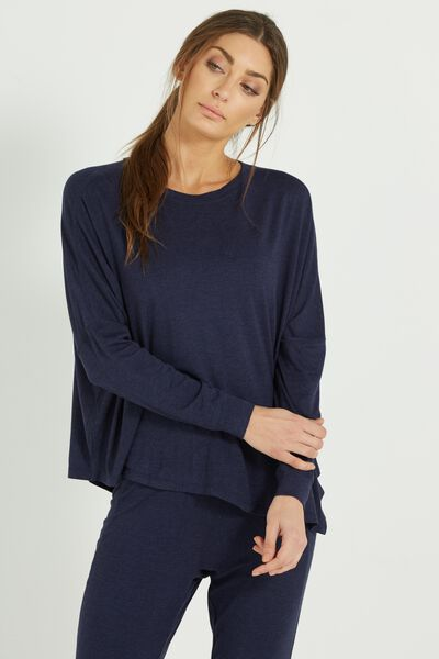 Sleep Recovery Asymmetrical Long Sleeve Top, MIDNIGHT MARLE