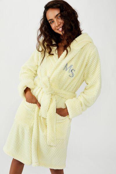 Personalised Hooded Luxe Plush Gown, LEMON MERINGUE TEXTURED